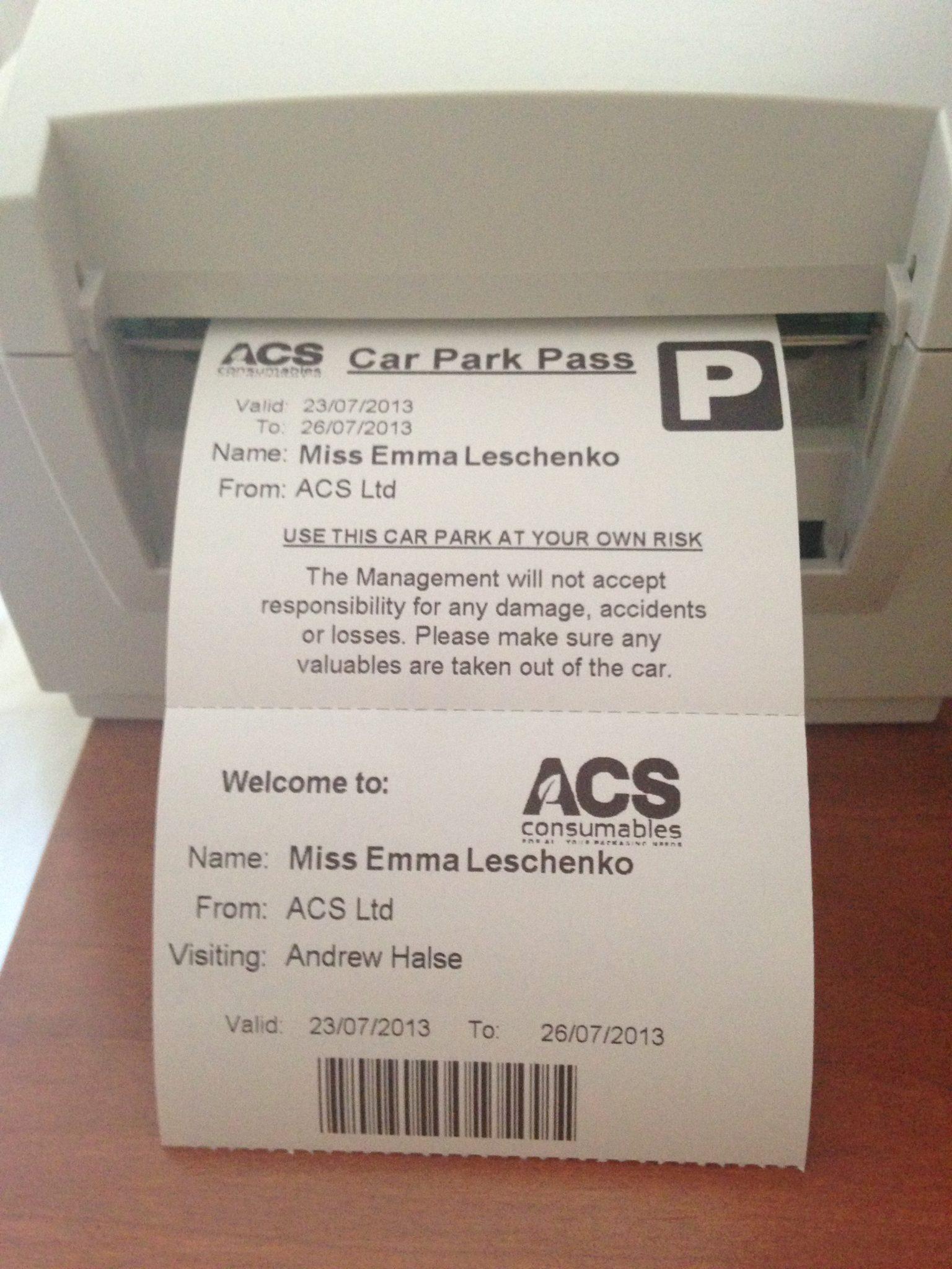 Visitor Pass with Car Park Pass - Printer